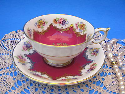 PARAGON Fancy Red Floral Teacup Gold Scroll Wide Mouth Tea Cup and Saucer A4583