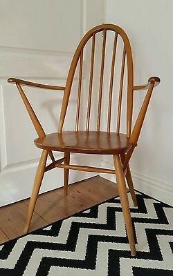 Mid Century ERCOL Elm Windsor Quaker Armchair Vintage Retro Scandi Spindle Chair