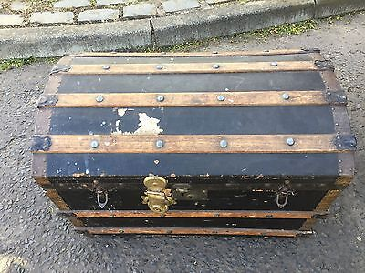 Large Old Antique  Dome Travel Trunk Vintage Storage Chest Blanket  Box