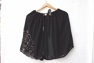 vintage cape black sequinned festival wedding evening lace