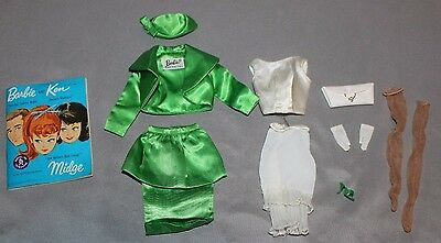 VINTAGE 1960s Barbie Clothing Theatre Date 959 Green Satin Near Complete Theater