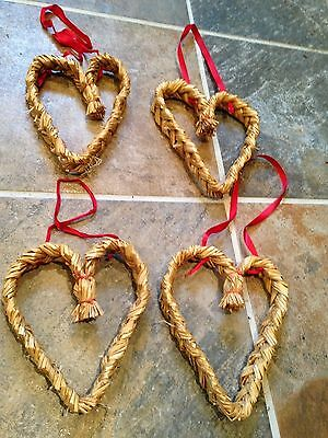 4 Vintage Swedish Christmas Straw Woven Braided Hearts Scandinavian Red Ribbon