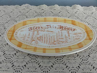 "Fitz & Floyd Fine China Grand Haven ""Bless This House"" Oval Tray Gold"