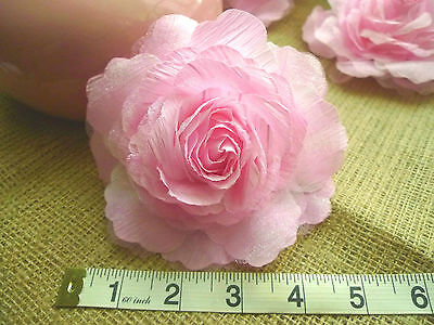 """10 Extra Large Pink Artificial Silk Rose Heads 12.5 cm (5"""")"""