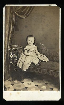 CDV Photo of Small Child Great Clothing and Hair