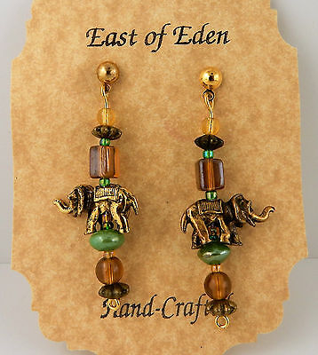 Antique gold elephant beaded earrings