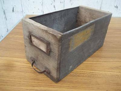 Antique Vtg Wood And Galvanized Metal Hardware Store Drawer Bin