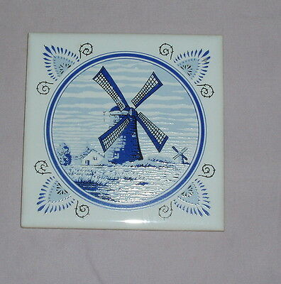 Vintage Seven Star Blue And White Windmill Tile