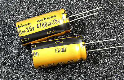 2pcs Nichicon Gold FW 4700uF 35v Radial Electrolytic Capacitor for Audio