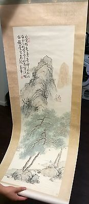 Antique Rare Chinese scroll scripture art painting kanji calligraphy with stamp