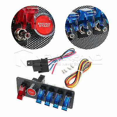 12V Racing Car 6 In 1 LED Toggle Ignition Switch Panel Engine Start Push Button