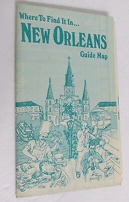 1984 Guide Map New Orleans Where To Find It  Lots of Advertisements