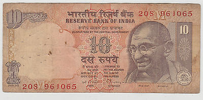 1996 10 Rupees India Reserve Bank Note Circulated 065