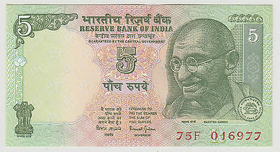 1997 5 Rupees India Reserve Bank Note Uncirculated 977