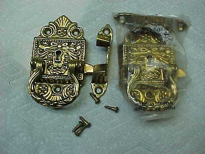 2 Very Ornate  Icebox Brass Handles Latches Hardware