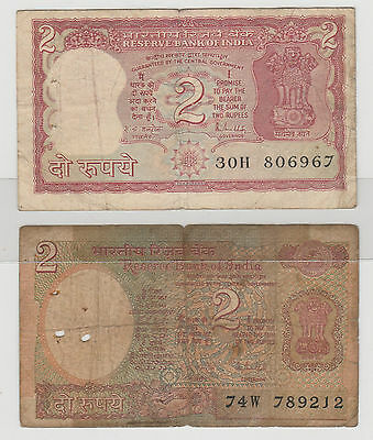 1985 2 Rupees India Reserve Bank Note  X2 Circulated 867