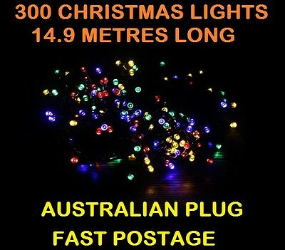 300 Christmas Lights COLOUR LED 14.9METRES Fairy Icicle XMAS Display Decoration