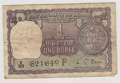 1966 1 Rupee Government Of India Note   Circulated 649F