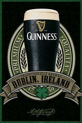 """GUINNESS BEER Poster 24 x 36"""" Dublin Ireland with glass of beer"""