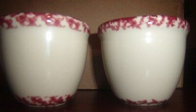 TWO HENN Pottery Spongeware Cranberry and White Custard dishes