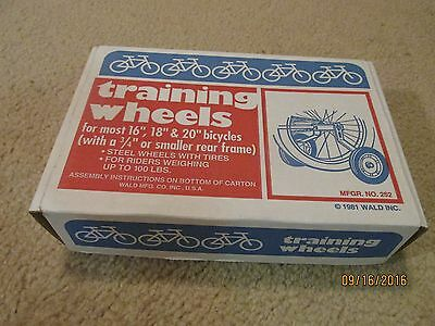 Vintage 1981 Wald Training Wheels in Box Fits 16, 18 and 20 Inch Bicycles