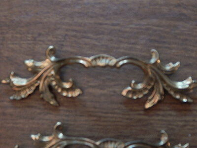 4 Bronze Leaf/Shell/Crown Pattern Drawer Pulls - Italy