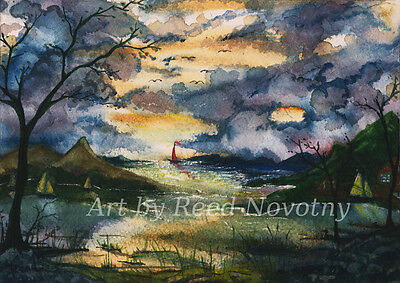 """Watercolor Painting Landscape """" First One Out of the Cove """"by Reed  8 X 10"""