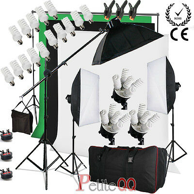 Photo Studio 2850W Continuous Lighting kit Softbox Boom arm 3 Background & Stand