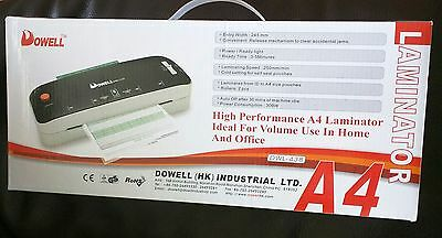 Dowell High Performance A4 Laminator - Volume Use - Home / Office - NEW