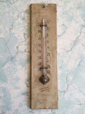 Vintage Farmall McCormick Deering Farm Machinery Wood Advertising Thermometer
