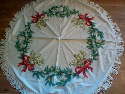 """Vintage Christmas Tablecloth White Red Green 60"""" Round Pine Bulbs Bows"""