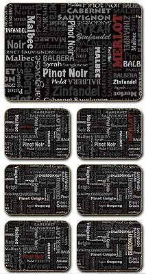 'Wine Typography' Cinnamon Cork Backed Placemats - Set of 6 *NEW*