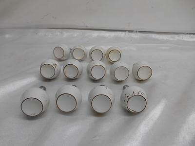 Old vtg Lot 13 Modern Metal White DRAWER PULLS Cabinet Knobs Architectural