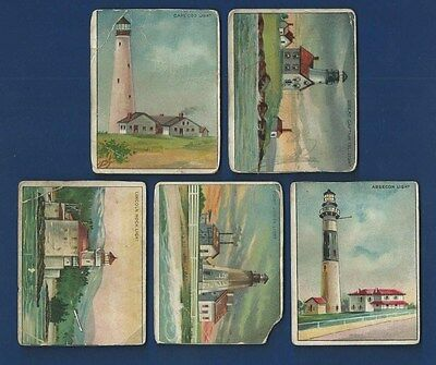 """1911 Hassan T77 """"Light House Series"""" 5 Card Lot - Cape Cod & More !!!"""