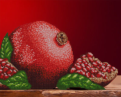 Pomegranate DIY beadpoint kit beaded embroidery satin tapestry glass seed beads