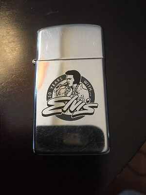 Vintage 1988 50 YEARS WITH ELVIS shiny Zippo Lighter Nice Light Use