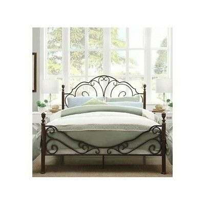 twin size bed frame headboard footboard victorian vintage rustic bronze antique