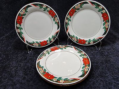 "Tienshan Deck the Halls Salad Plate 7 1/2"" Christmas Poinsettia Set of FOUR MINT"