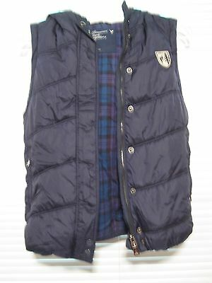 American Eagle Vest zipper button hooded Navy Blue faux fur S Small