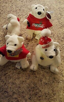 Set of (4) Different Coke. Coca-Cola,  Christmas Bean Bag Plush Polar Bears