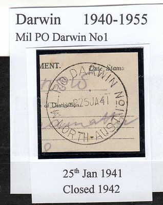 1941 Mil PO Darwin No1 NORTH-AUST - closed 1942