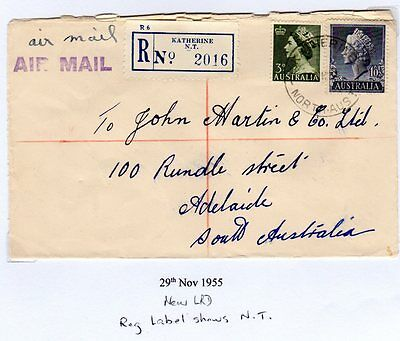 1955 Airmail and registered cancelled Katherine North Aust