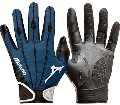 1 Pair Mizuno 330286 Vintage Pro Large Navy Blue Adult Batting Gloves New!