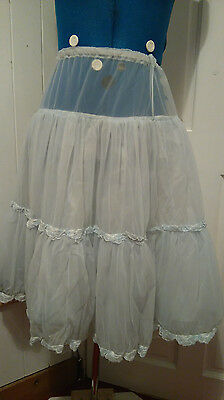 1950s VINTAGE BLUE TIERED PETTICOAT SMALL (SIZE 10)