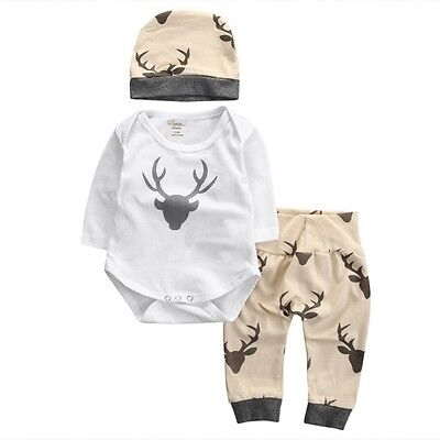 3PCS Toddler Baby Girls Boys Tops Romper+Long Pants+Hat Outfit Clothes Set 0-18M