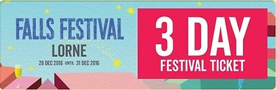 5x Falls Festival Lorne tickets 3 days incl. Camping