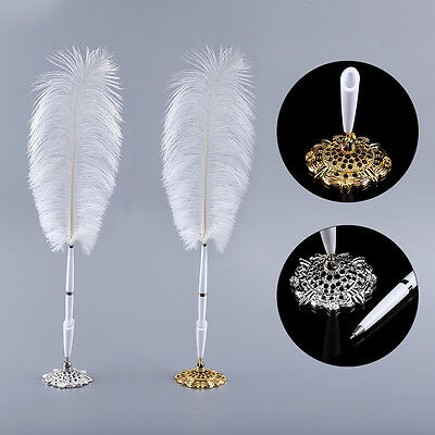 Ostrich Feather Wedding Business Quill Signing Ballpoint Write Pen Metal Holder
