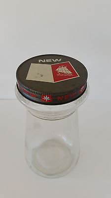 """Retro Vintage Folgers Coffee Crystals Glass Jar With Lid No Label  8""""H"""