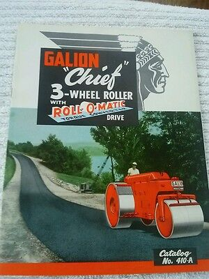 VINTAGE 1959 GALION CHIEF 3 WHEEL ROLLER CATALOG 410-A ROLL O MATIC 12 pages