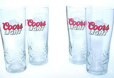 Set Of 4 Coors Light Beer Pint Signature Glasses Color Changing Cold Activated